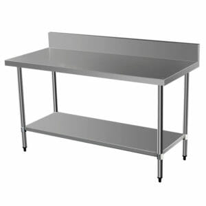long stainless steel bench with splashback