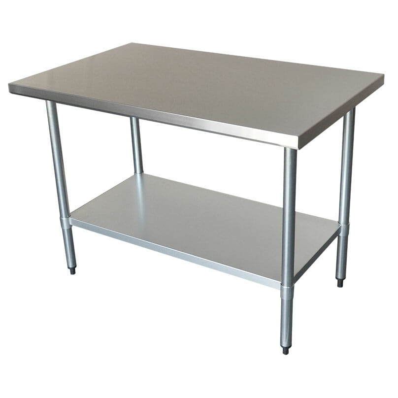 Commercial Grade Stainless Steel Flat Bench, 1219 x 762 x 900mm high