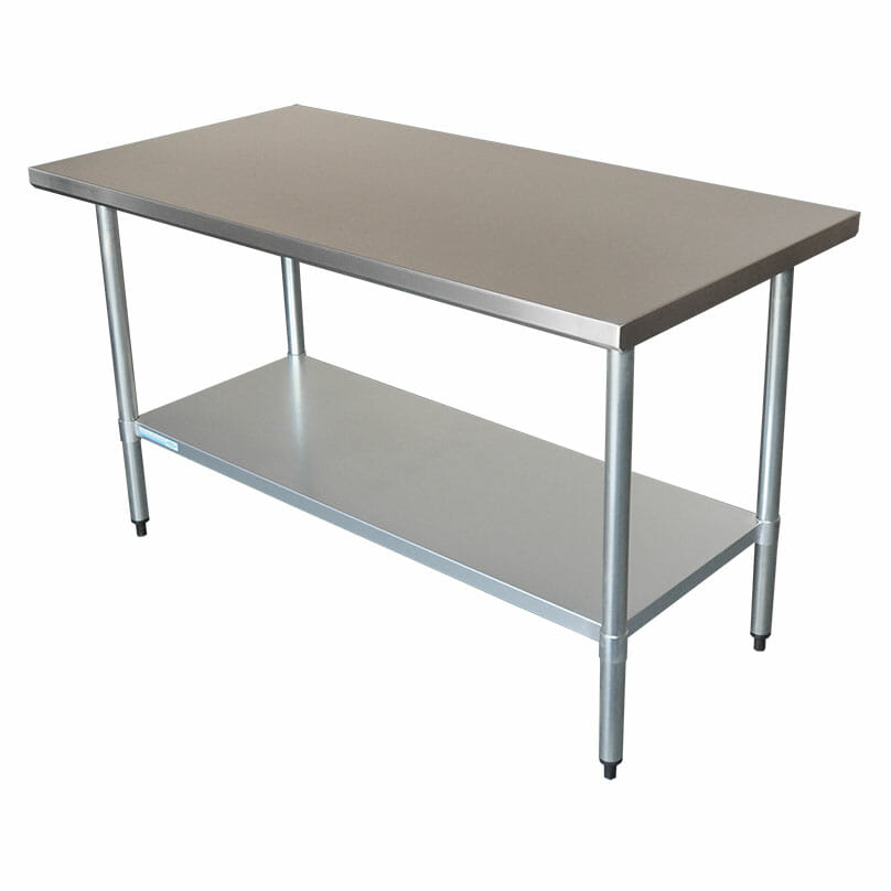 Commercial Grade Stainless Steel Flat Bench, 1524 x 762 x 900mm high