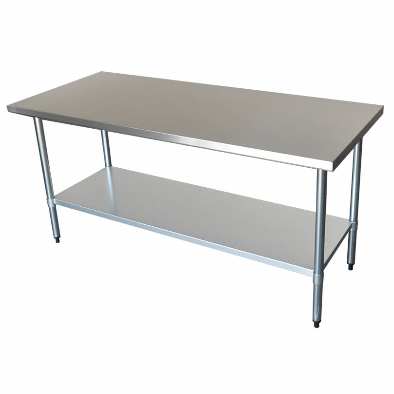 Commercial Grade Stainless Steel Flat Bench, 1829 x 762 x 900mm high