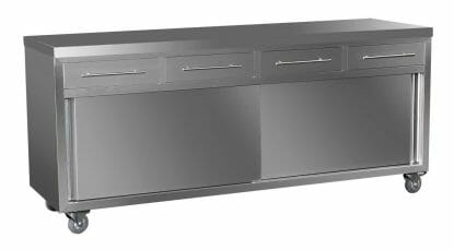 Stainless Steel Kitchen Cabinets, 2000 x 610 x 900mm high.