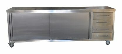 Stainless Commercial Kitchen Cabinet, 2490 x 610 x 900mm high.