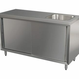 Stainless Cabinet with fully integrated sink on Right. 1500 x 610 x 900mm high.