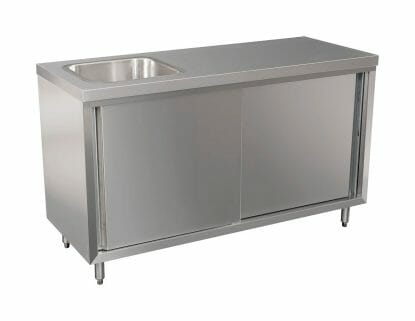Stainless Cabinet with fully integrated sink on left. 1500 x 610 x 900mm high.