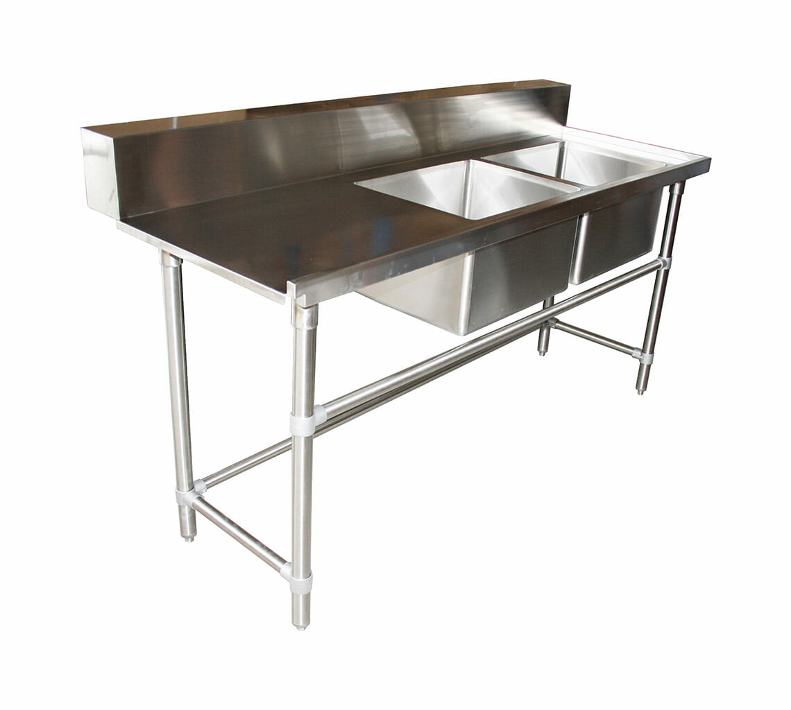 Stainless Steel Commercial Double Sink Dishwasher Inlet Bench, Right Configuration 1800 x 700 x 900mm high