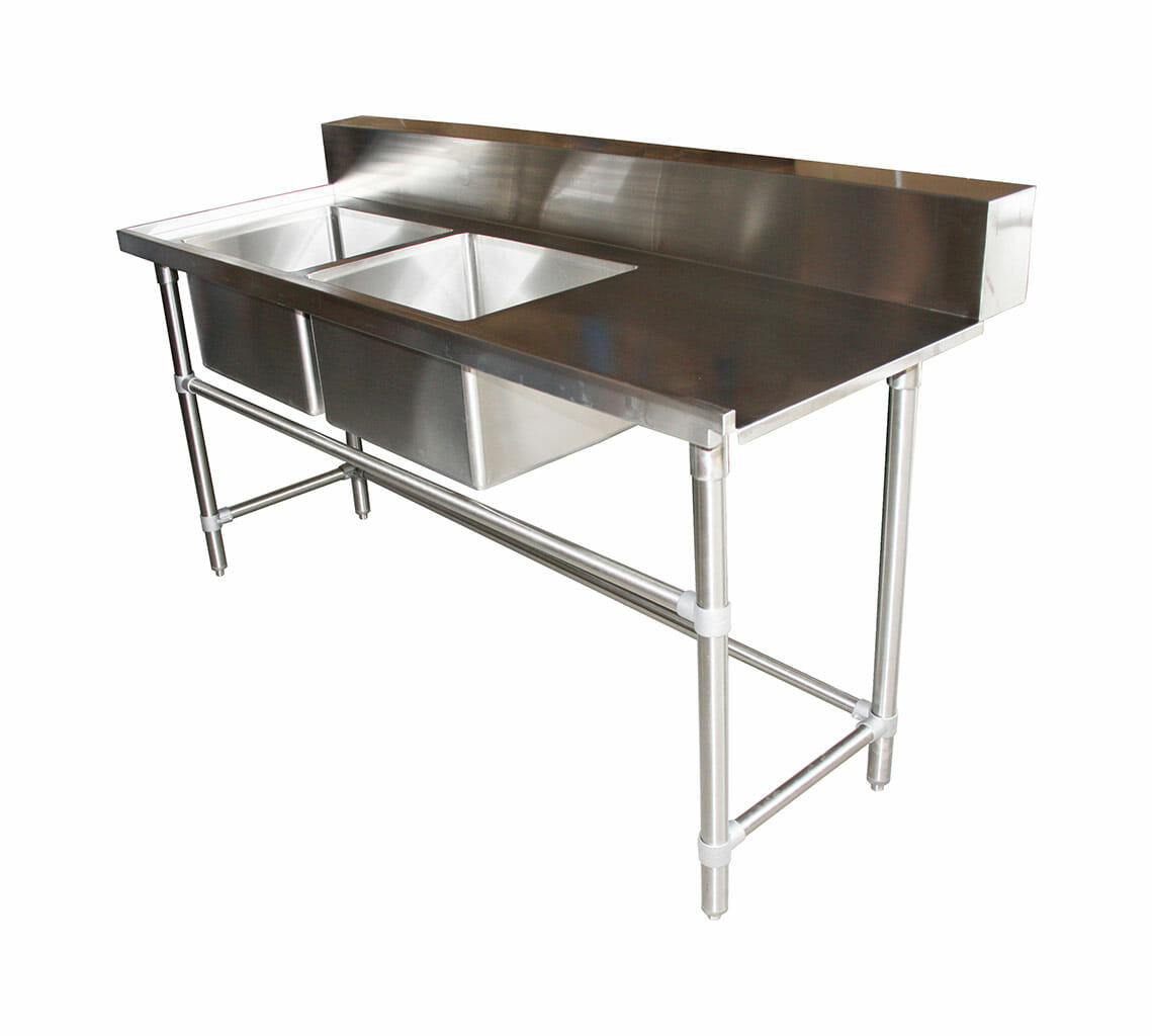 Stainless Double Sink Dishwasher Inlet Bench, Left Configuration 1800 x 700 x 900mm high.