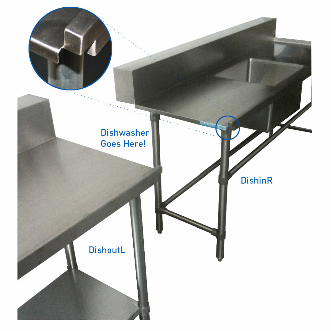 Stainless Dishwasher Inlet Bench, Right Configuration. 1800 x 700 x 900mm high.
