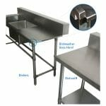Stainless Dishwasher Inlet Bench, Left Configuration. 1800 x 700 x 900mm high.