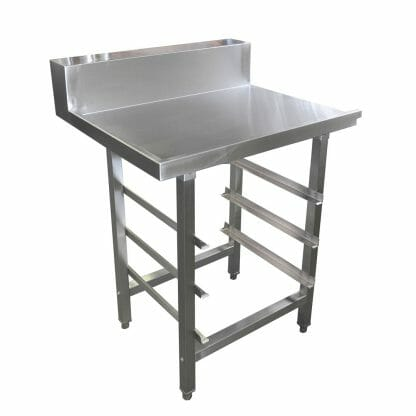 Stainless Dishwasher Outlet Bench, with Undershelves, Right Outlet, 800 x 700 x 900mm high.