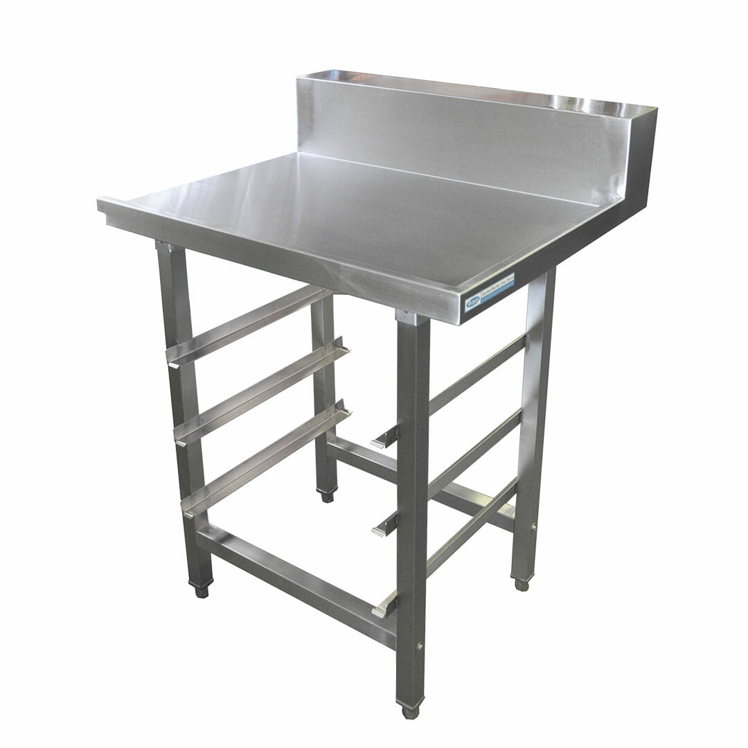 Stainless Dishwasher Outlet Bench, with Undershelves, Left Outlet, 800 x 700 x 900mm high