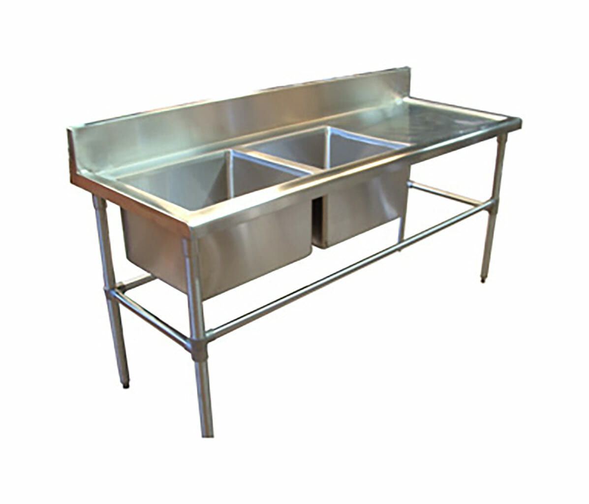 Double Bowl Stainless Steel Commercial Sink – Right Bench, 1700 x 700 x 900mm high