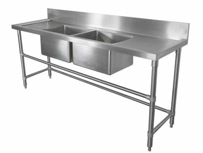 Stainless Double Bowl Restaurant Sink - Right and Left Bench, 2000 x 610 x 900mm high.