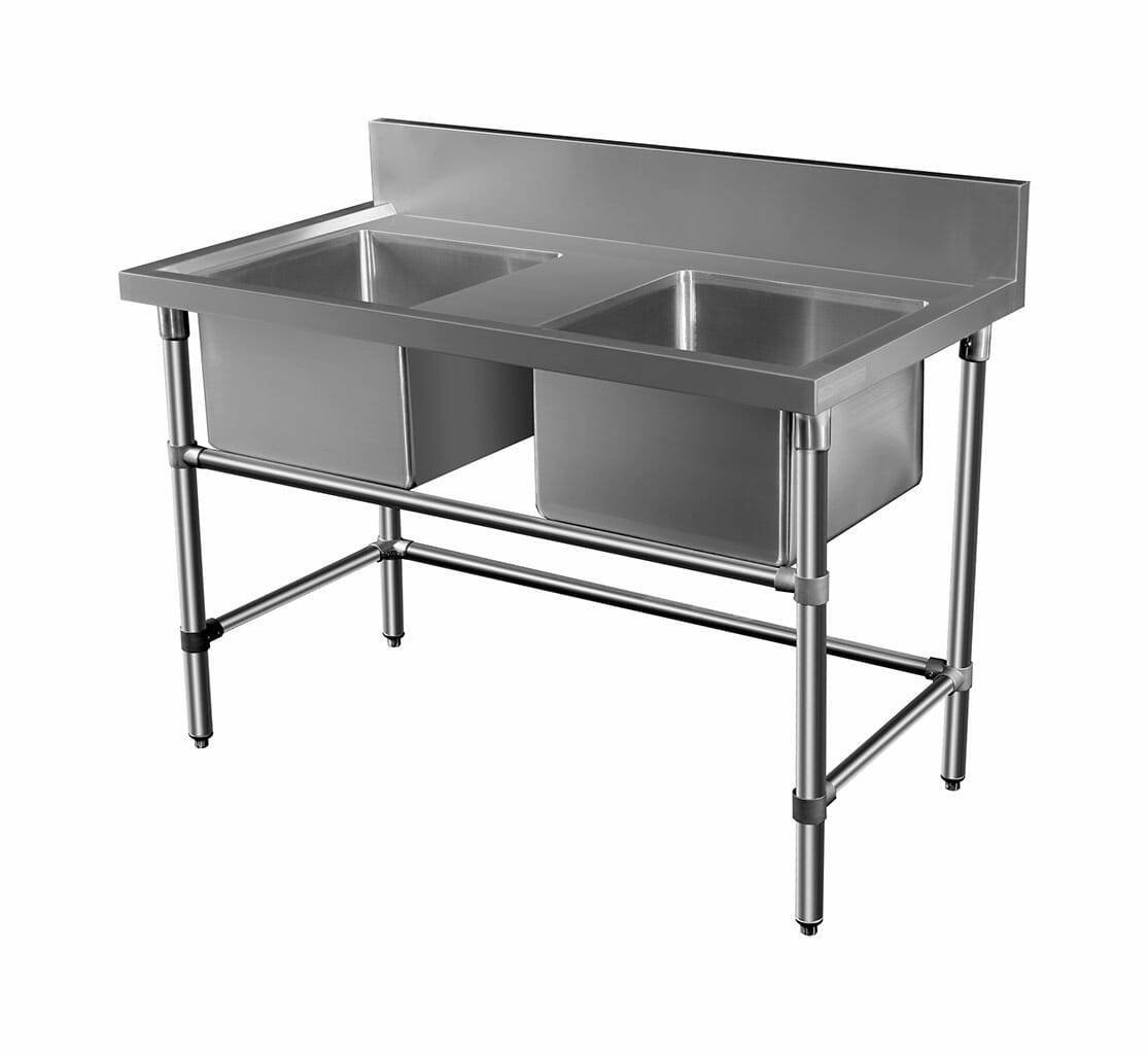Double Stainless Sink – Middle Bench, 1300 x 700 x 900mm high