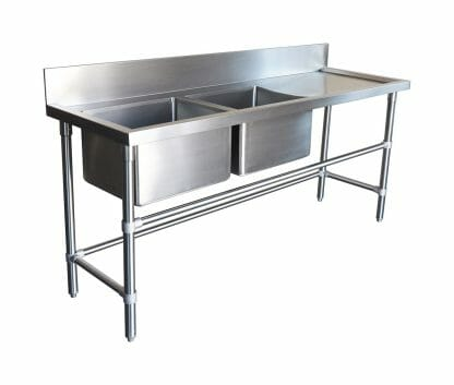 Double Bowl Stainless Sinks - Right Bench, 1900 x 610 x 900mm high.
