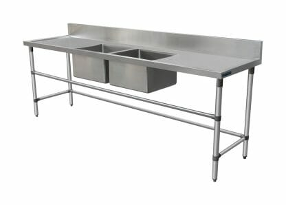 Double Stainless Sink - Right And Left Bench, 2590 x 700 x 900mm high.