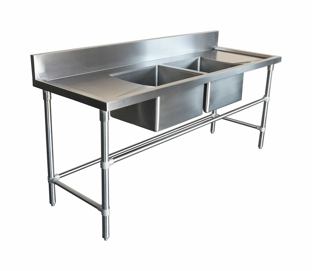 Double Stainless Steel Sink – Right And Left Bench, 2000 x 700 x 900mm high