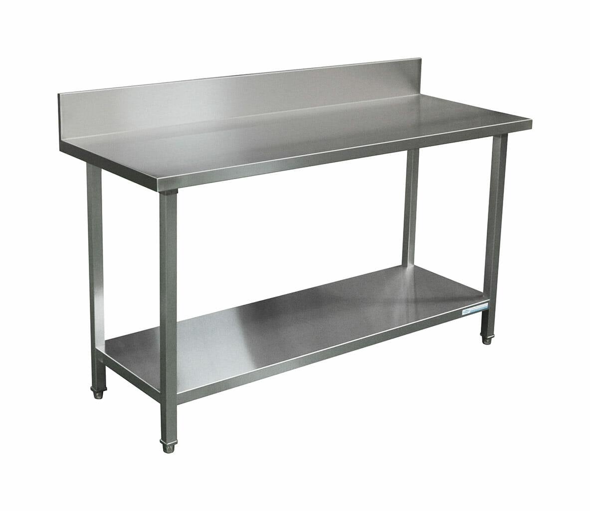 Commercial Grade Stainless Steel Splashback Bench, Premium Range 1600 X 610 X 90mm high