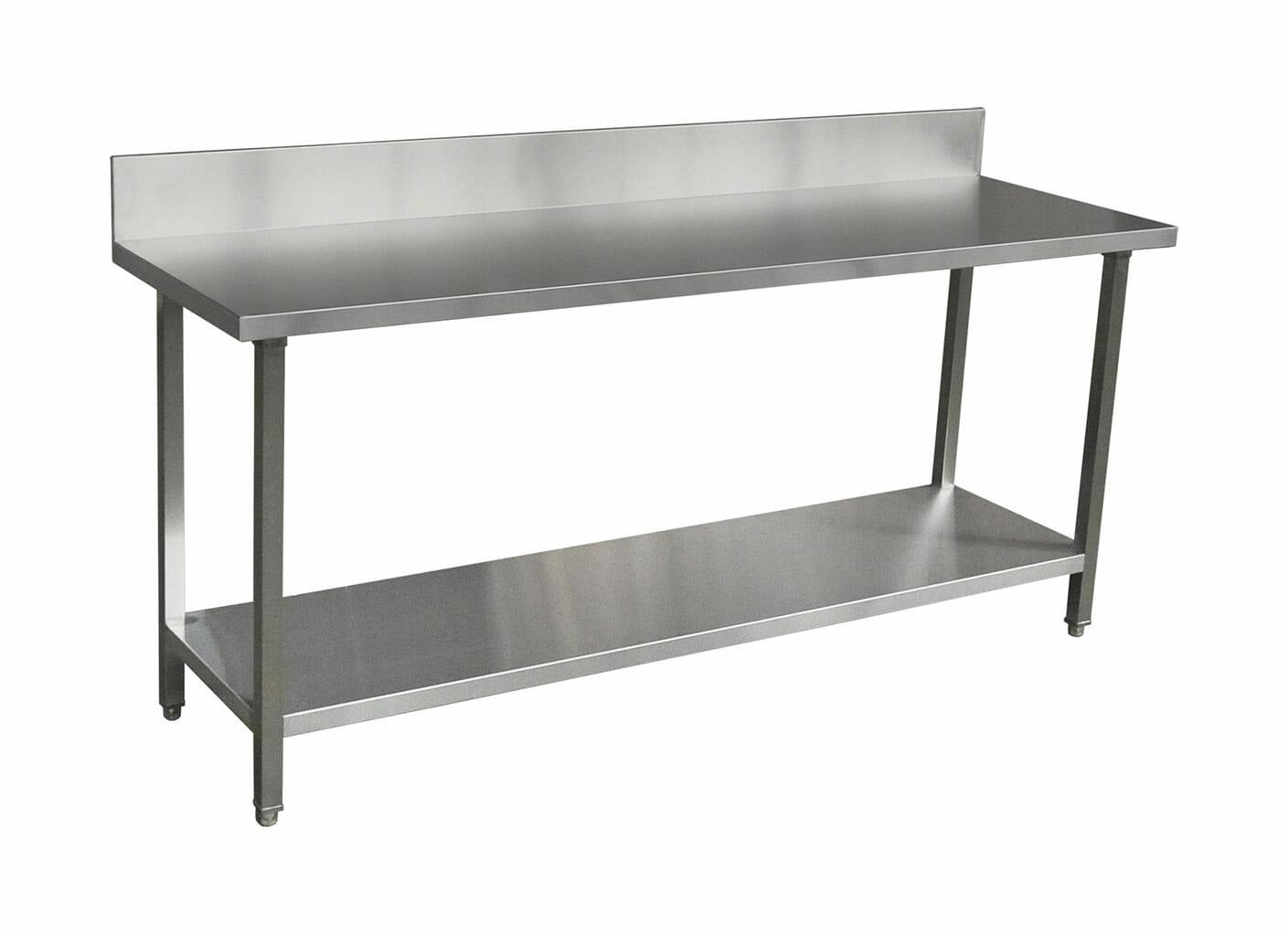 Commercial Grade Stainless Steel Splashback Bench, Premium Range 2000 X 610 X 900mm high