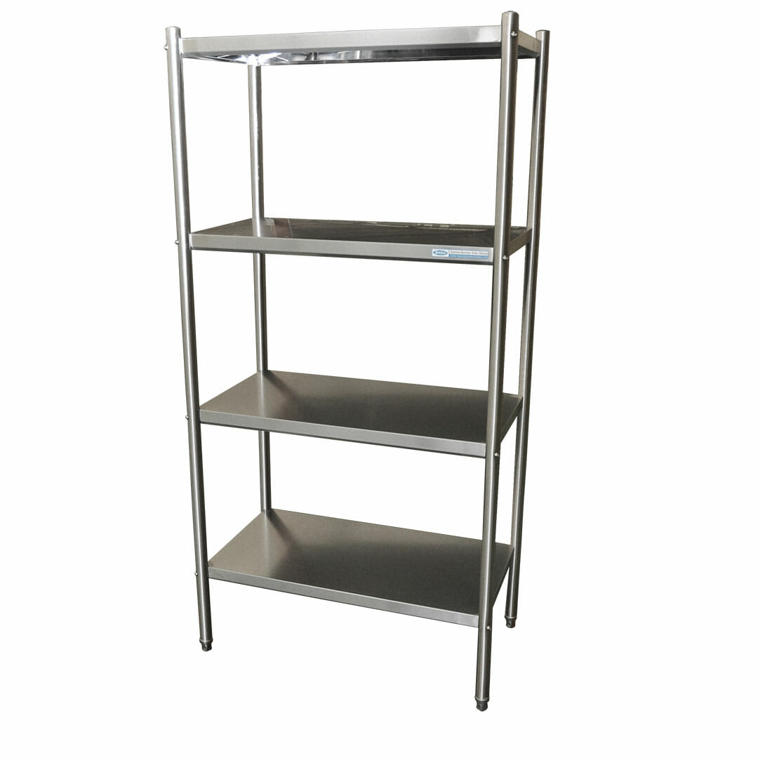 4-Tier Stainless Commercial Kitchen Shelf, 900 x 510 x 1800mm high