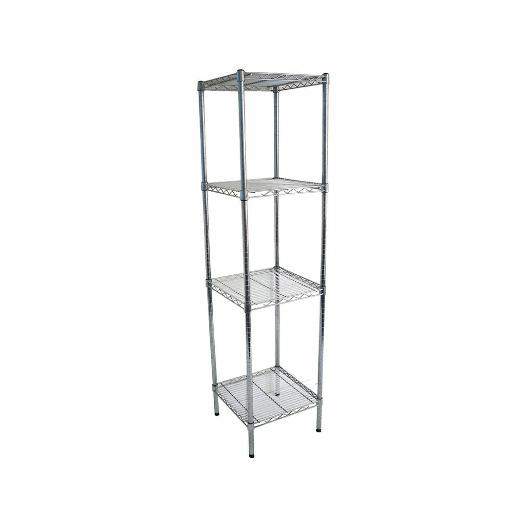 Chrome Wire Dry Store Shelving, 4 Tier, 457 X 457 deep x 1800mm high
