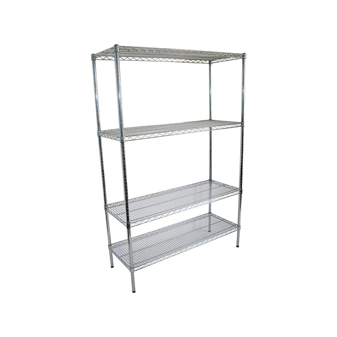 Chrome Wire Dry Store Shelving, 4 Tier, 1219 X 457 deep x 1800mm high