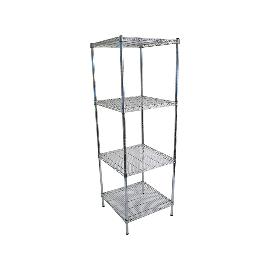 Chrome Dry Store Wire Shelves 4 Tier, 610 X 610 deep x 1800mm high-0