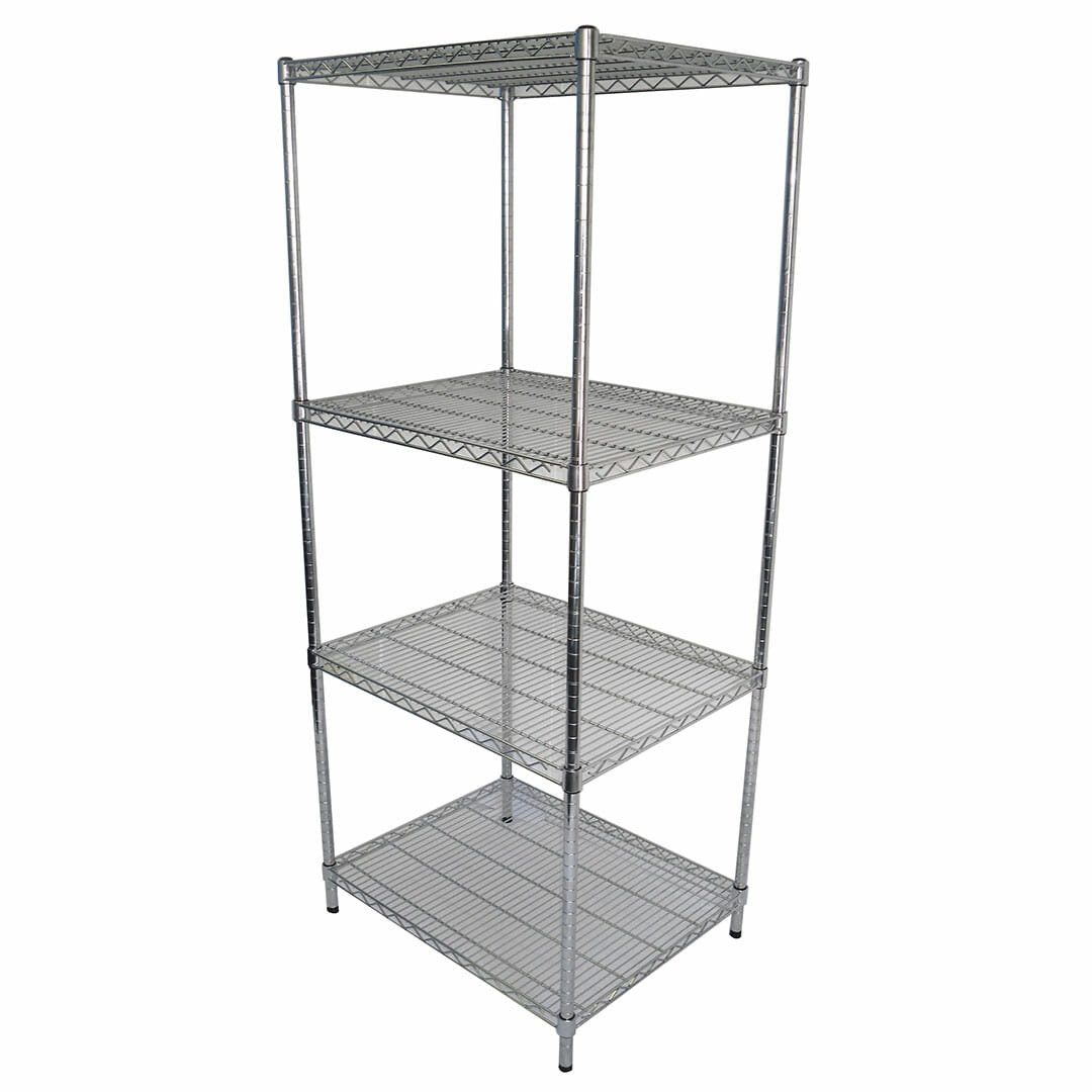 Chrome Wire Dry Store Shelving, 4 Tier, 762 X 610 deep x 1800mm high