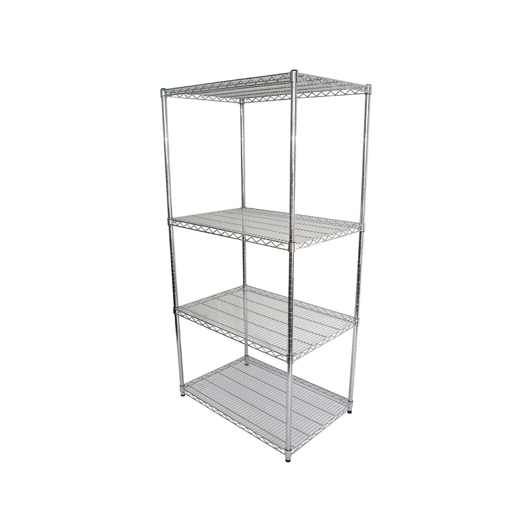 Chrome Dry Store Shelf 4 Tier , 914 X 610 deep x 1800mm high