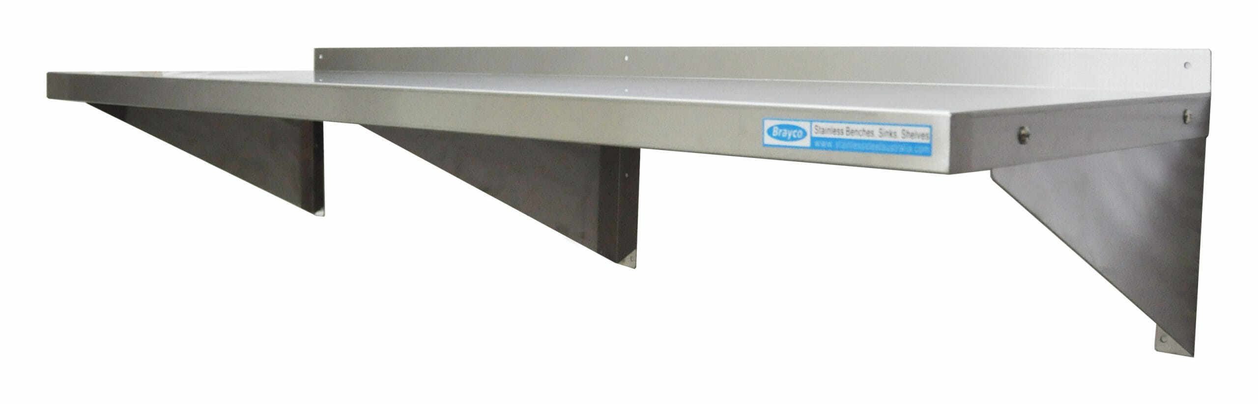 Stainless Steel Solid Wall Shelf, 1500 X 450mm deep