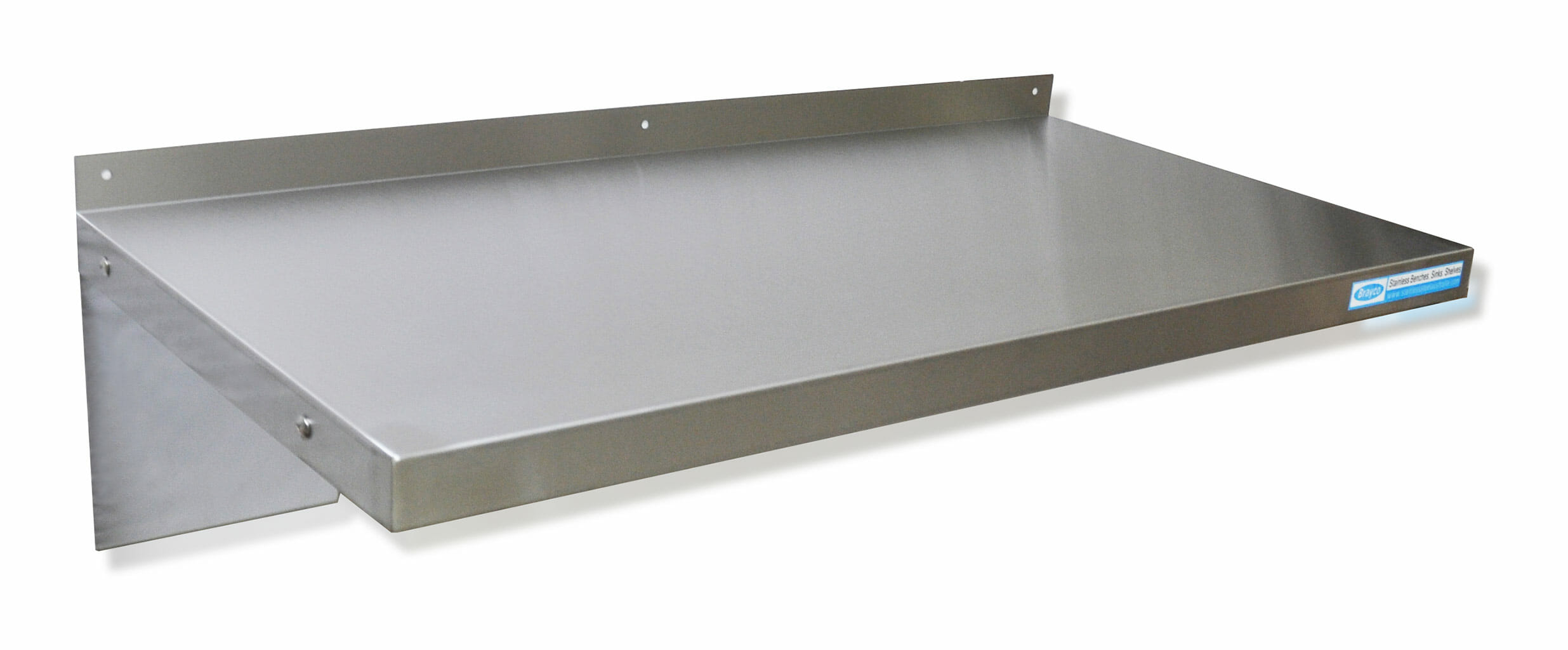 Stainless Steel Solid Wall Shelf, 900 X 450mm deep