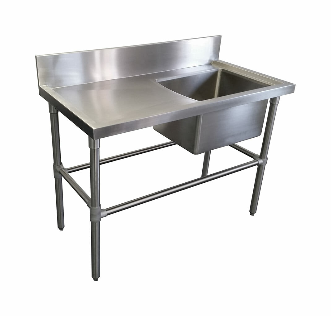 Single Bowl Stainless Steel Sink – Left Bench, 1200 x 610 x 900mm high