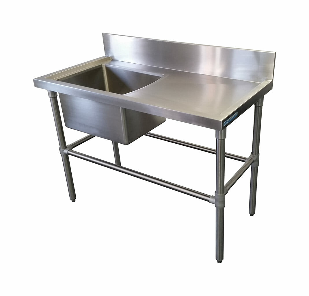Single Bowl Stainless Steel Sink – Right Bench, 1200 x 610 x 900mm high