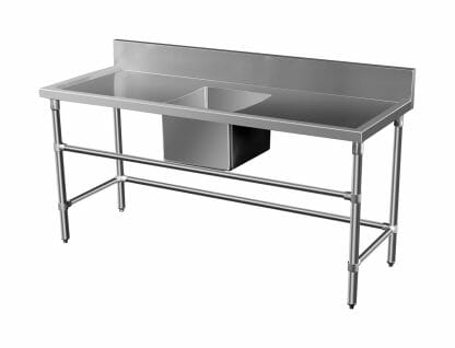 Stainless Steel Catering Sink - Right And Left Bench, 1500 x 700 x 900mm high.