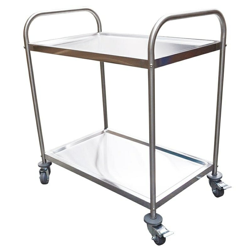 Stainless Trolley, 2-Tier With Castors, 825 x 530 x 800mm high