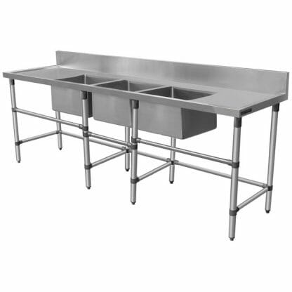 Triple Stainless Sink - Right And Left Bench, 2590 x 700 x 900mm high-0