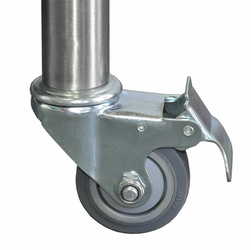2 Lockable Castors, with 2 Stainless Legs