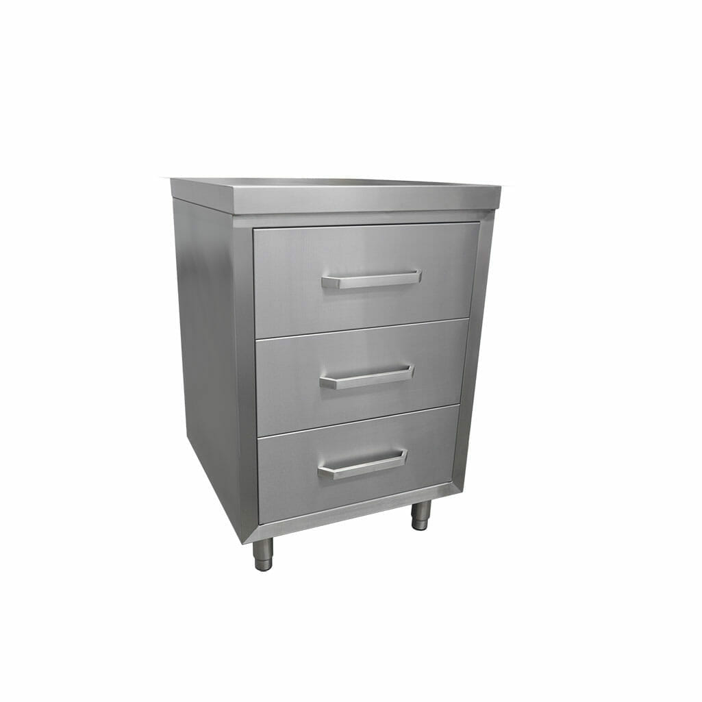 3 Drawer Commercial Kitchen Cabinet, 600 x 610 x 900mm high