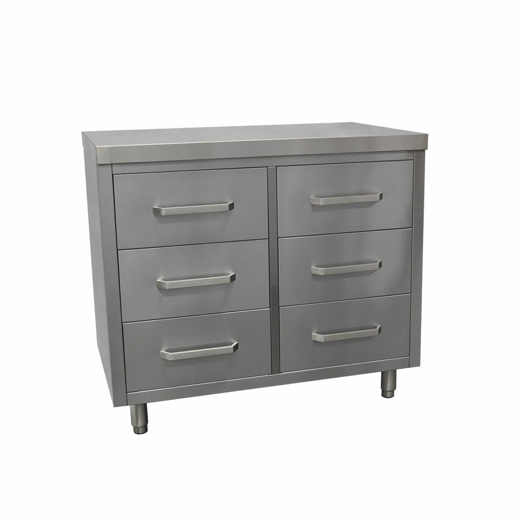 6 Drawer Stainless Steel Cabinet, 1000 x 610 x 900mm high