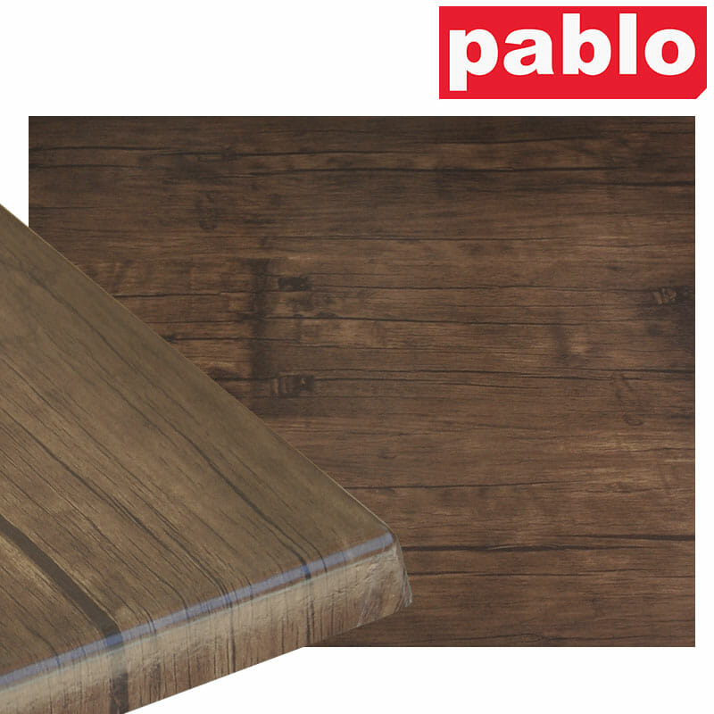 Ricardo High Pressed Resin Table Tops – Rectangle, Rustic Walnut Effect