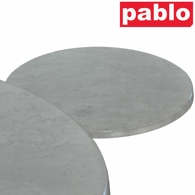 Ricardo High Pressed Resin Table Tops – Round, Cement Effect
