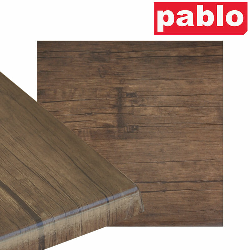 Ricardo High Pressed Resin Table Tops – Square, Rustic Walnut Effect